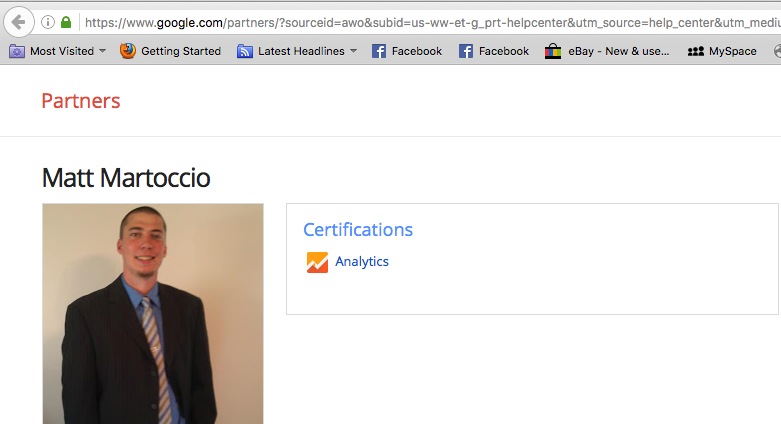 Matt Martoccio Google Certified Partner